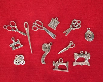 "SET! 12pc ""sewing"" deluxe charms set in antique silver style (BC1307)"
