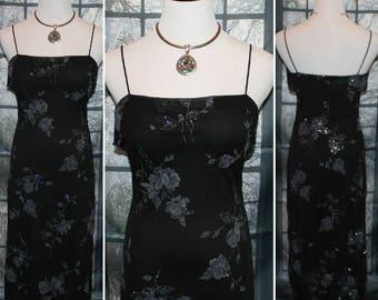 90'S Vintage Black,Silver Sparkle Dress ByByer Too Evening Dress,Cocktail Dress,Dinner Dress,Summer Dress,Boho Dress,Retro Dress,Urban Dress