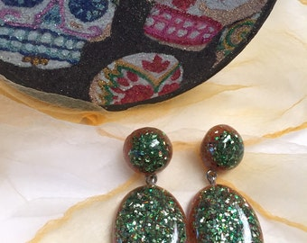 Dangle Confetti and Glitter Lucite Earrings