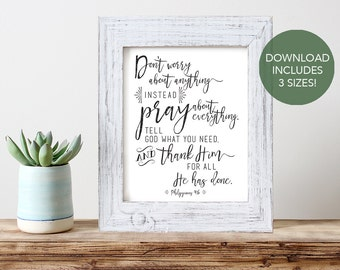 Instant Download -- Philippians 4:6 // Printable Bible Verse Art // Inspirational Wall Art // Printable Scripture Art // Don't Worry Print