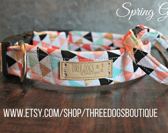 """Dog Collar with Optional bff bracelet """"Spring Geo"""" FREE SHIPPING! **please leave EXACT tight wrist measurement with no wiggle room**"""