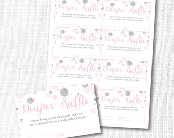 PINK SILVER CONFETTI diaper raffle, ticket, card, insert card, girl, baby shower, sprinkle, instant download, digital file, printable, diy