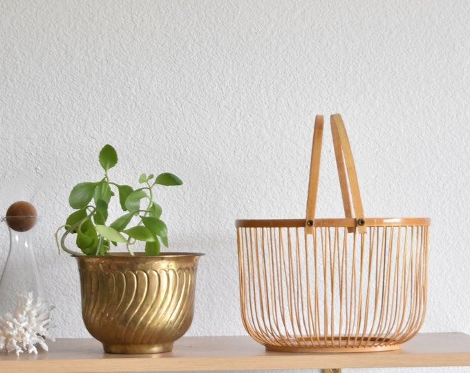 mid century modern wooden bamboo wire basket with handles