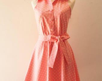 SALE -Polka Dot Dress Shirt Dress Pink with White Polka Dot Dress Swing Dance Dress Digadigadoo Style Vintage Sundress -Can add cap sleeve