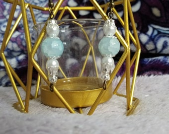 Sale! Ice Blue and Pearl Glass Bead Dangle Earring, Silver Accent Flower and Cap Spacers