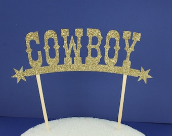 Western Themed Cowboy Gold Glitter Cake Topper
