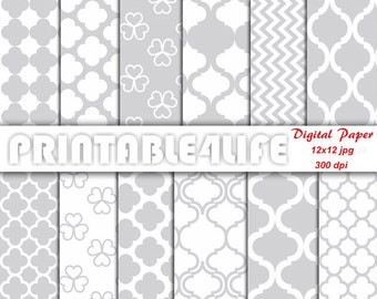 Gray white Digital paper pack, Clover, Chevron, Quatrefoil, Craft Patterns, Scrapbooking background paper, Personal / Commercial Use (a32)