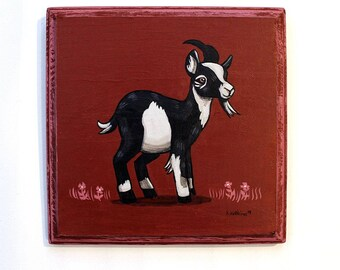 Goat Art - Small Original Wall Art Acrylic Painting on Wood by Karen Watkins - Animal Miniature Artwork
