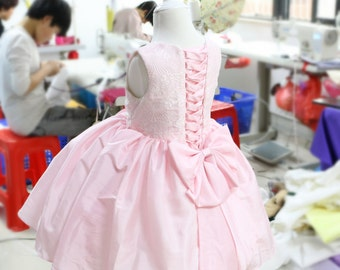 Pink Tie-Back Baby Birthday Dress, Infant Pageant Dress, Baby TuTu Dress, Toddlers Easter Dress, PD074-1