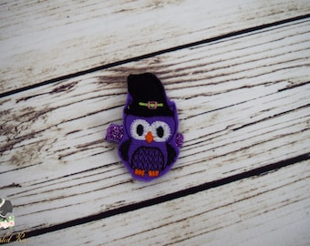 Handcrafted Adorable Witch Owl Feltie Clip - Purple and Black Hair Clip - Halloween Baby Girl Accessory - Toddler Hair Clip - Witch Hat
