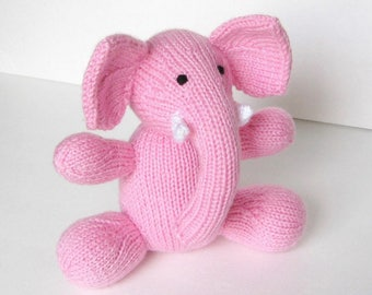 Stuffed Animal Pink Elephant, Hand Knit Plush Doll, Newborn Infant Girl Baby Shower Gift, Nursery Room Kids Cuddly Toy, Toddler Child Softie
