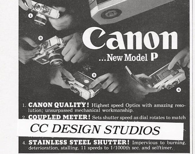 Canon Model P - Canonflex Cameras Vintage 1960 Magazine Advertisement - Canon VI / 35mm Film Camera Ads / Japan / Home - Office Decor - Gift