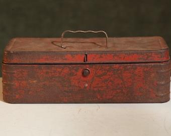 Vintage RED Metal TOOLBOX Mid-Century RUSTY Rustic Worn Weathered