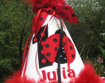 ladybug birthday hat, party hat, 1st bithday party hat, smash cake hat, red ladybug party, 2nd birthday party hat