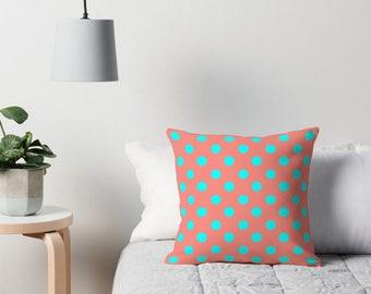 Aqua and Coral Pillow, Polka Dot Pillows, Coral Polka Dot Pillow, Polka Dot Cushion, Polka Dots, Polka Dot Pillow Cover, Coral Cushion, Aqua