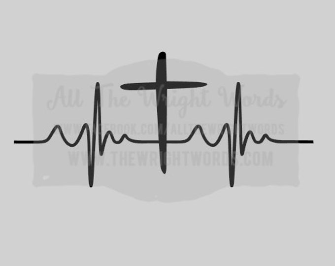 "FREE SHIPPING //  8x3.6"" Cross Heartbeat Vinyl Decal - Great For Water Bottles - Custom - Laptop Decal  - God - Faith - Jesus - Church"