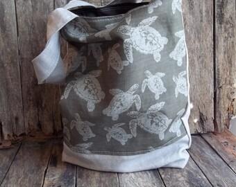 Loggerhead Turtle Fabric Tote - Market Bag - 2 Pockets