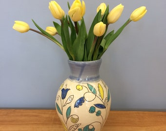 Handmade Flower Vase with Leaf Deco. Glazed in Clear and Blue. MA126