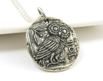 Silver Owl Pendant Necklace, Antique Pewter Bird Reversible Nature Jewelry, Athena's Owl Greek Mythology |GS1-23