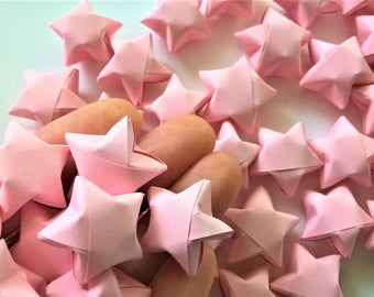 100 pieces Origami lucky star, Origami wishing star, Pastel Pink