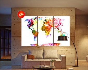 world map large  print on canvas wall art canvas wall art world map large print art artwork large world map Print home office decoration