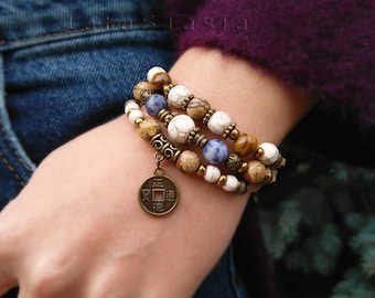 Wealth bracelet, chinese coin, coin bracelet, feng shui, suede bracelet, boho bracelet, bronze coin, prosperity, lucky coin, jasper, rustic