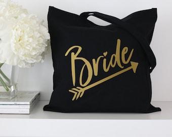 Bride Tote Bag - Black or White Bachelorette Bride Tribe Party Tote Bags