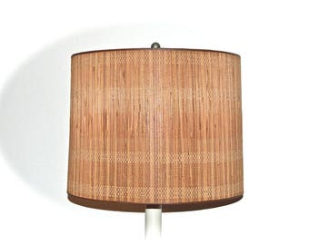 Stiffel Fiberglass & Bamboo Drum Shade 1960s Large Mid Century