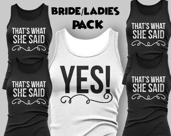 Pack of 5 Bridesmaid Tank Tops - Tee Shirts Women - Bridal Tank Top - Bachelorette Party - Bridal Party - Custom Tee Shirt - Graphic Tee