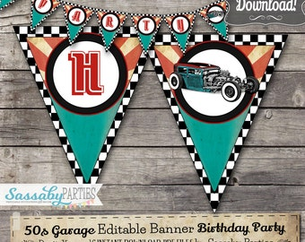 50s Garage Party Banner Rock n Roll - INSTANT DOWNLOAD - Editable & Printable Birthday Party Decoration, Decor, Bunting by Sassaby Parties
