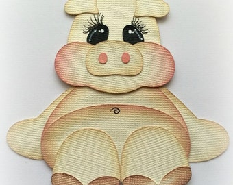Adorable little  pig animal premade paper piecing 3d die cut by my tear bears kira