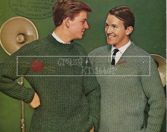 "Men's Raglan Sweater 36-42"" Chunky Sirdar 2028 Vintage Knitting Pattern PDF instant download"