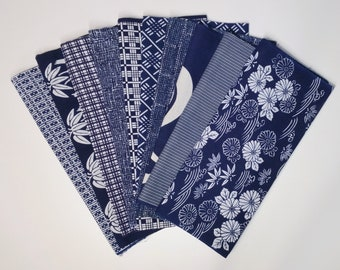 Japanese vintage cotton yukata scrap bundle lot - 10 indigo and white yukata prints