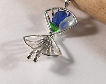 4 - Silver Plated Shell Lockets or Bead Cages, Shell or Sea Glass Lockets - FAST SHIPPING