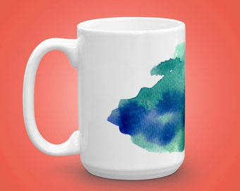 Teal and Blue Watercolor Mug