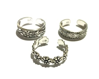 3 x Sterling silver toe rings