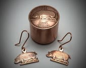 Ireland Half Penny - Pig - Cut Coin EARRINGS with a Holder