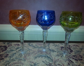 Antique Set of THREE Cut to Clear Bohemian Crystal Goblets AMAZING AJKA