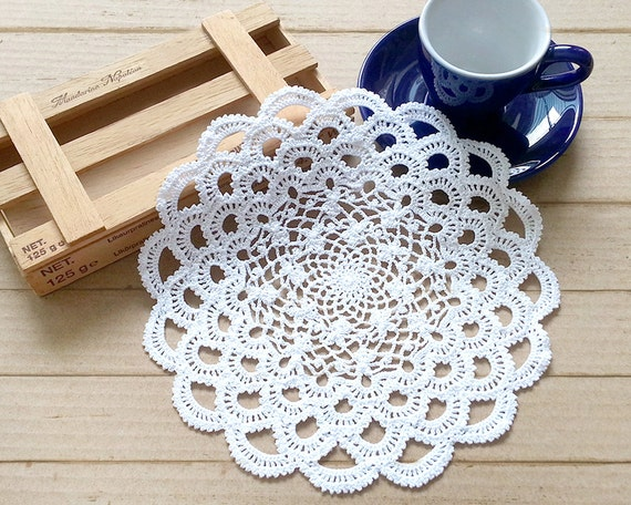 Crochet Doily 7 Inch Doily Small Doily White Doily
