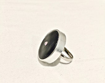 Ring. Black and silver ring. Adjustable ring. FREE SHIPPING