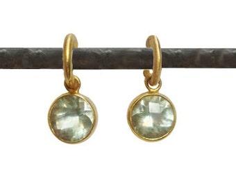Green Amethyst (Prasiolite) Dangles for Hoops - 22k - Interchangeable Earrings