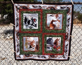 Western Christmas quilted tablecloth