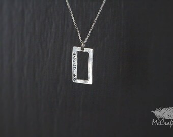 Customizable Pewter and Sterling Rectangle Necklace