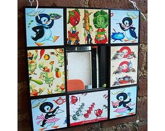 retro kitchen wall mirror vintage 1950s penguin rockabilly anthropomorphic housewife kitsch