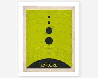 SOLAR SYSTEM (Giclée Fine Art Print) Retro, Minimal, Pop Art