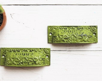 Rustic Cast Iron Distressed Cup Handle -Drawer Pulls In Fig Green- Cabinet Knob- Dresser-Home Decor-Dresser Hardware-SET OF 2