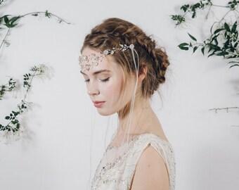 Browband, forehead band, wedding headband, crystal browband, crystal forehead band, wedding brownband, wedding hairvine, hair vine - Isadora