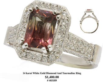 14 karat White Gold Diamond And Tourmaline Ring