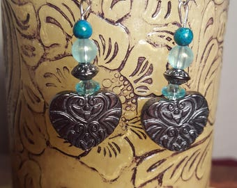 Stamped Metal Heart with Aqua Bead Dangle Earrings
