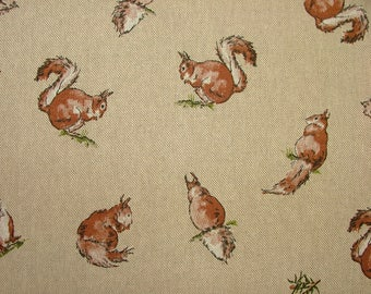 Mini Prints Squirrels Country Side Animals Linen Look Fabric Curtain Upholstery